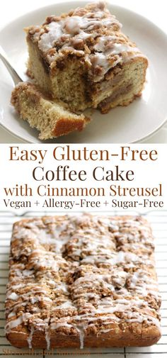 The best Gluten-Free Coffee Cake loaded with cinnamon streusel! This EASY recipe of the classic is vegan, allergy-free, and sugar-free! Baked rich and moist with a dairy-free sour cream and balanced w Gluten Free Coffee Cake, Vegan Coffee Cakes, Gluten Free Sweets, Sugar Free Desserts, Gluten Free Cakes, Sugar Free Recipes, Gluten Free Recipes, Dessert Recipes, Sugar Free Treats