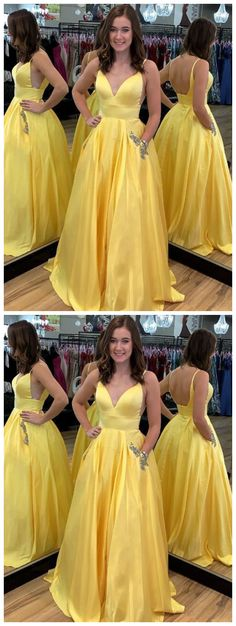 Buy A Line Yellow Satin V-Neck Beading Pocket Prom Dresses Long Backless Party Dresses online.Shop short long ombre prom, homecoming, bridesmaid evening dresses at Couture Candy Cocktail party dresses, formal ball gowns in ombre colors. Prom Dresses With Pockets, Straps Prom Dresses, Ball Gowns Prom, A Line Prom Dresses, Evening Dresses, Party Dresses, Dress Prom, Bridesmaid Dresses, Wedding Dresses