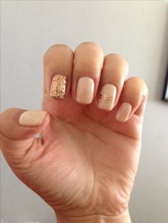 Rose Gold Gel Manicure with Glitter Accent Nail and Foil Stripes.                                                                                                                                                     More