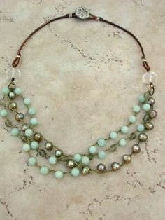 Crocheted shabby boho jewelry Bohemian necklace, beachy, leather, freshwater pearls and amazonite, bohemian statement multi-strand necklace. $68.00, via Etsy.