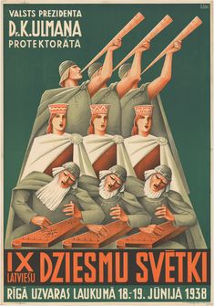 """Raimonds SISKO, """"The Land that Sings"""", Latvian vocal contest poster, National Songs, Riga Latvia, My Dear Friend, 1920s Art, My Heritage, Vintage Travel Posters, Vintage Advertisements, Ads, Traditional Art"""