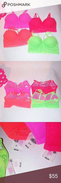 (4) Victoria Secret PINK Bras Set of 4 Victoria Secret PINK  Bralette Small Strappy Lace New with tags  Chavonne11 PINK Victoria's Secret Intimates & Sleepwear Bras