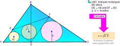 Problema de Geometría20: Triángulo rectángulo, Altura, Perpendiculares, Inradios