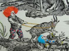"""Richard Saja's embroidered art - Saja uses vintage toile fabric and hand-embroiders figures into anachronistic, irreverent and out-of-place characters, like clowns, etc.  More work on his blog """"Historically Inaccurate"""": http://historically-inaccurate.blogspot.com/"""
