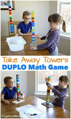 Duplo Math Games - Frugal Fun For Boys and Girls Subtraction Kindergarten, Subtraction Activities, Lego Activities, Kindergarten Activities, Math Games, Preschool Activities, Counting Games, Kindergarten Addition, Teaching Math
