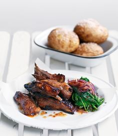 Sticky Lamb Ribs with Jacket Potatoes and Spicy Spinach