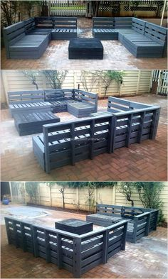 For those who are looking for decorating the patio, the presented idea is impressive and innovative which will save the money as the patio shipping pallet sofa set made at home will not cost much. Placing a patio sofa set of gray color and a table with it Diy Pallet Projects, Pallet Ideas, Wood Projects, Palet Exterior, Pallet Sofa, Pallet Benches, Outdoor Pallet Seating, Pallet Couch Cushions, Pallet Patio Decks