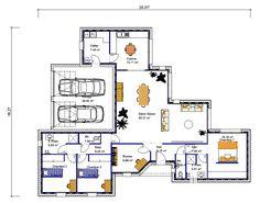 """Résultat de recherche d'images pour """"plan maison plain pied 3 chambres"""""""