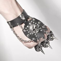Exhilarating Jewelry And The Darkside Fashionable Gothic Jewelry Ideas. Astonishing Jewelry And The Darkside Fashionable Gothic Jewelry Ideas. Spike Bracelet, Hand Bracelet, Skull Bracelet, Emo Fashion, Gothic Fashion, Steampunk Fashion, Fasion, Metal Bracelets, Beaded Bracelets