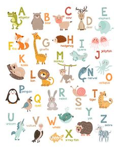 Set of 2 Alphabet wall art Alphabet animals by Anietillustration