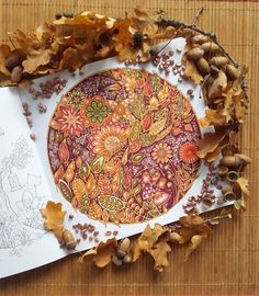 "LOVE THIS! A autumn leaves flew ... my first coloring of the book ""enchanted forest """