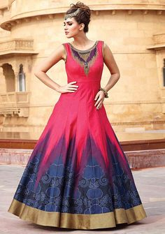 Exotic Neon Pink and Midnight Blue #Anarkali Style #Gown