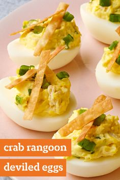 Crab Rangoon Deviled Eggs – Combine two of your favorite appetizers—crab rangoons and deviled eggs—with this tasty appetizer recipe. These savory bites are an unmistakable taste sensation and would be a great addition to your Easter menu.