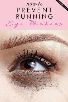 Keep Your Eye Makeup From Running 1. First of all, don't over-moisturize the area.  2. Secondly, use eye shadow primer on not only the top lid but also right under the bottom lid, especially if you use eyeliner on your lower lid (waterproof eye shadows & mascaras don't work very well on oily skin).  3. As a final step after you've applied your eye makeup, just go over the top and bottom lips with a little sheer pressed powder.