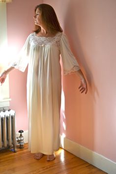 Vintage 70's  Poet Lingerie Bert Yelin for Iris Long Nightgown with Lace Yoke Size 16 Large -  Utterly Romantic - VL60. $65.00, via Etsy.