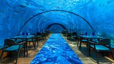 Hurawalhi Maldives is home to the world's largest all-glass undersea restaurant. '5.8' dazzles and delights diners with a multi-course tasting extravaganza.