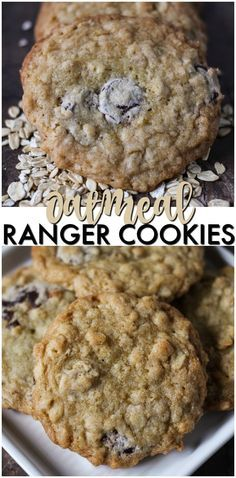 Ranger Cookies are a soft and chewy cookie filled with oatmeal, chocolate chips, and crispy rice cereal. Definitely a new favorite for the cookie jar!   www.persnicketyplates.com #ad #quaker @Quaker