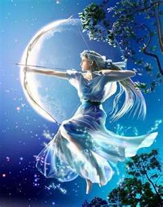The goddess of the hunt, sister of Apollo, Artemis....