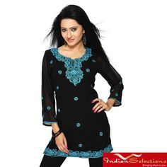 Add a touch of exotic style to your wardrobe with a handmade kurti from India. This lovely women's tunic is crafted of georgette in black and turquoise hues with 3/4-length sleeves.