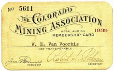 Colorado Mining Association Membership card