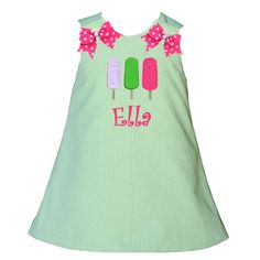 Lolly Wolly Doodle Green Gingham Popsicle Aline Dress 7/2