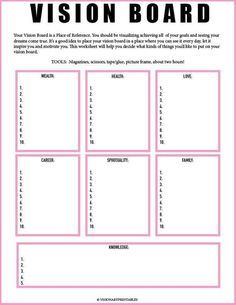 Board Worksheet// Vision Board Checklist// Law of Attraction// Visualization Worksheet// Mind Get Your Personal Walking Plan and Transform Your Body 🔥🔥🔥 PINK Vision Board and Vision Frame Ms Project, Project Board, Goal Board, Creating A Vision Board, Mental Training, Training Workouts, Visualisation, Goal Planning, Party Planning