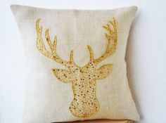 Deer Pillows - Animal pillow with stag embroidered in gold sequin -Burlap pillows -Gold Moose pillow - Gold pillows- Christmas pillows 18x18 on Etsy, $26.00