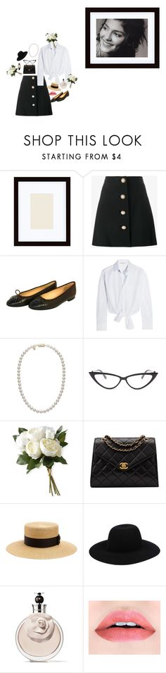 """""""Black and White"""" by ladyofthelastcentury ❤ liked on Polyvore featuring Pottery Barn, Miu Miu, Chanel, Maje, Mikimoto, Ellen Tracy, National Tree Company, Gucci, Off-White and Valentino"""