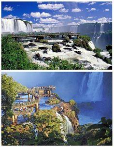 Pasarelas en las Cataratas del Iguazú. Una de las principales atracciones, Patrimonio Natural de la Humanidad, es un destino turístico con una serie de puentes y pasarelas que permiten al visitante, admirar y sentir el poder de la naturaleza desde cerca.
