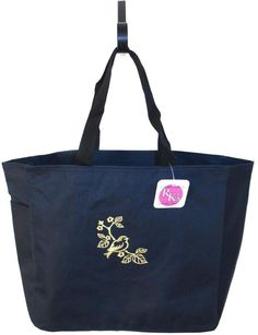Gold Bird Purple Tote Navy Blue Bag Flower Tree Branch Nature Blossoms Monogram #PortAuthority #TotesShoppers