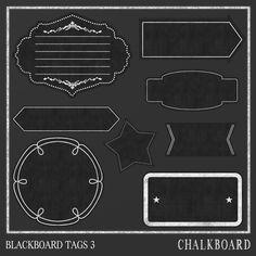 Chalkboard Frames 3  / Tags / Chalkboard Labels -Instant download in Png -Printable Blackboard Labels by DigitalPaperCraft on Etsy
