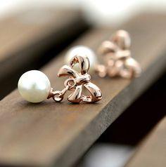Dangling Pearl on Bow Earrings | LilyFair Jewelry, $10.99!