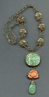 ANTIQUE CHINESE CARVED JADE and CORAL NECKLACE SET in SILVER FILIGREE, ORNATE