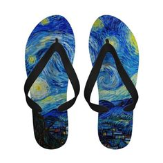 Cool Starry Night Vincent Van Gogh painting Sandals