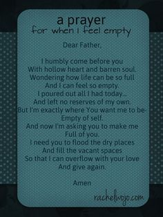 a prayer for when you feel empty