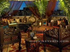 Moroccan party, lavish and luxurious furniture and tenting