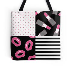 Lipstick Patchwork Tote Bag