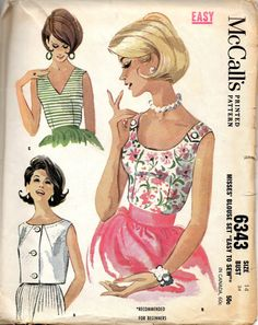 McCalls 6343 1960s Misses Blouse Pattern Scoop Neck V Neck Bateau Neck EASY Womens Vintage Sewing Pattern Size 14 Bust 34 on Etsy, $14.00