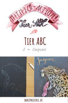 Weiter geht es mit der Mitmach-Aktion dem Tier-ABC. Mitmachen kann jeder der Spaß am Malen und Zeichnen hat. Wir sind schon beim J, dem Jaguar angekommen. #tierabc #hobbymalen #kunst #jaguar Tier Abc, Polychromos, Jaguar, Drawings, Poster, Art, Letter J, Hands On Activities, Kunst