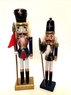 Two Christmas Nutcrackers Wooden Handpainted Decorations 10 & 9 inches Tall