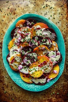 Beet Salad with Tahini Lemon Sauce - Vegan