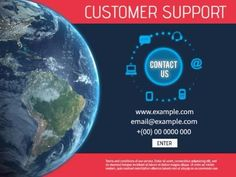 An image template for customer service with a red border and navy background. The text reads 'customer support ' easy to edit in Design Wizard.