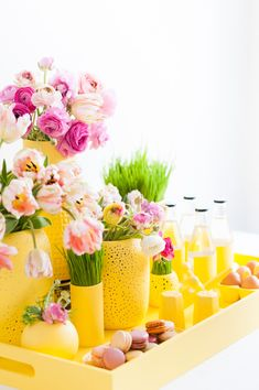 bright yellow spring colors. easter party flower display. Follow Pithy Flamingo for more aesthetic mood boards and colorful photography.