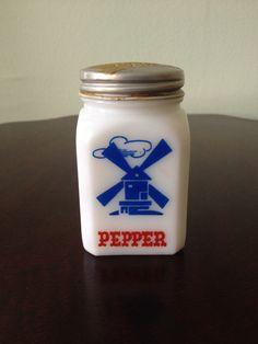 Vintage Hazel Atlas Milk Glass Windmill/Pepper Advertising Shaker - The Croghan Colonial Bank Freemont, Oh by SchmitysVintageBooty on Etsy