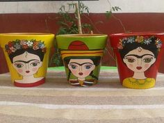 Painted Clay Pots, Painted Flower Pots, Hand Painted, Flower Pot Art, Flower Pot Crafts, Deco Nature, Ideias Diy, Mexican Art, Terracotta Pots