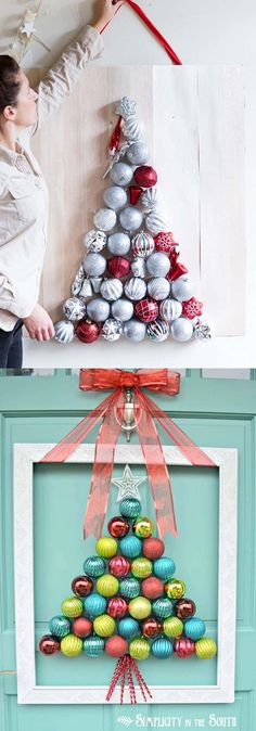 48 inspiring alternative DIY Christmas Tree ideas using repursposed materials from candy canes, pine cones, to paper and pallets, with great tutorials! - A Piece of Rainbow