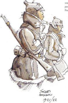 Hugo Pratt - Corto Maltese in Siberia - Mongolian Soldiers Comic Book Artists, Comic Artist, Comic Books Art, Bd Comics, Horror Comics, Maltese, Character Concept, Character Art, Hugo Pratt