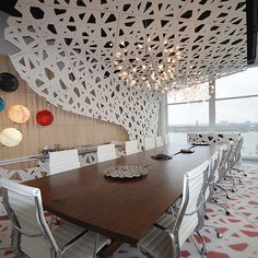 Fascinating Office Design for Executive Office: Modern Meeting Room With White Ceiling, Wooden Table, White Chairs, Wide Glass Widnows And C...