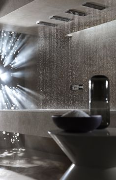 Now you can enjoy a pleasant and relaxing shower even when lying down. Sieger Design created this Horizontal Shower for Dornbracht, allowing for maximum Bathroom Spa, Bathroom Interior, Bathroom Modern, Washroom, Bathroom Ideas, Minimal Bathroom, Bathroom Cabinets, Bathroom Designs, Piscina Spa