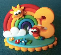 Edible RAINBOW number cake topper. Cake decorations. Sugar Number Cake Toppers, Number Cakes, Fondant Toppers, Fondant Cakes, Cupcake Toppers, Cupcake Cakes, Clay Crafts, Diy And Crafts, Crafts For Kids